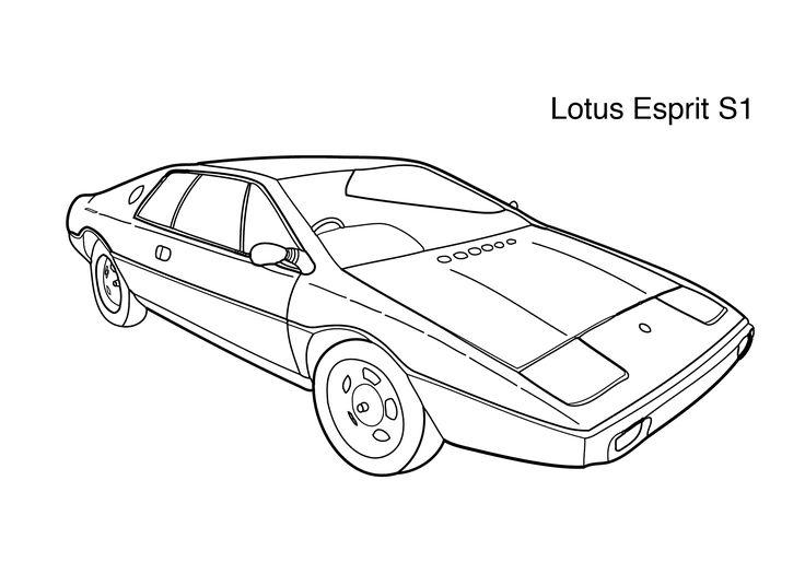Super car Lotus Esprit S1 coloring page for kids