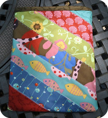 Love this iPad case. And method for piecing jelly rolls for projects.