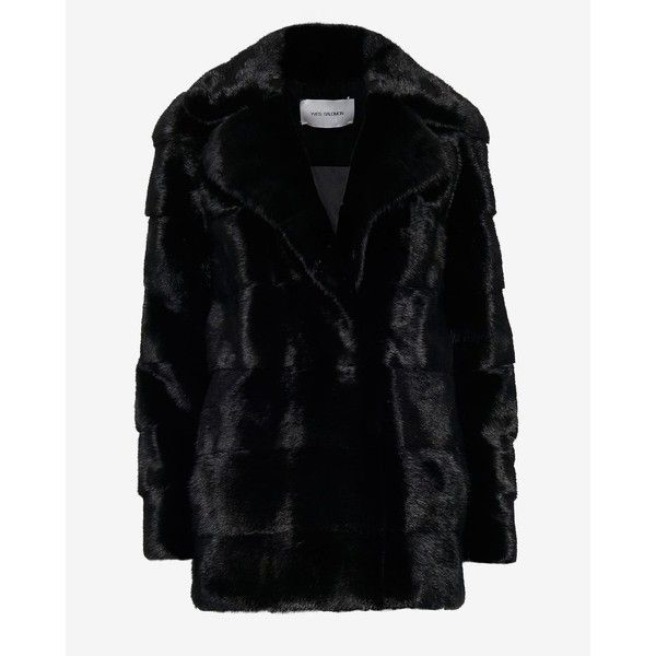 Yves Salomon Mink Fur Overcoat: Black ($6,498) ❤ liked on Polyvore featuring outerwear, coats, black, mink coat, mink fur coat, over coat, black overcoat and black coat