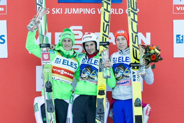 Peter Prevc Photos Photos - PLANICA, SLOVENIA - March 18: (L-R) Peter Prevc, Robert Kranjec of Slovenia and Johan Andre Forfang of Norway pose for a picture during the victory ceremony of the FIS Ski Jumping World Cup at Planica on March 18, 2016 in Planica, Slovenia. - FIS Ski Jumping Worldcup Planica - Day 2