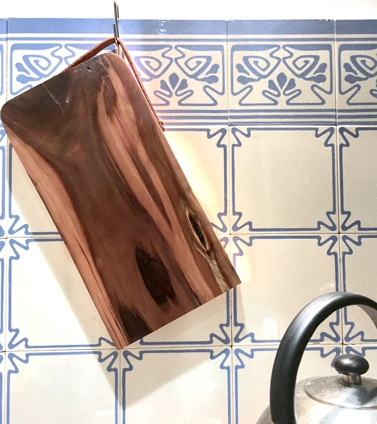 Wooden Board with leather rim made of plum wood by Finn Naujoks