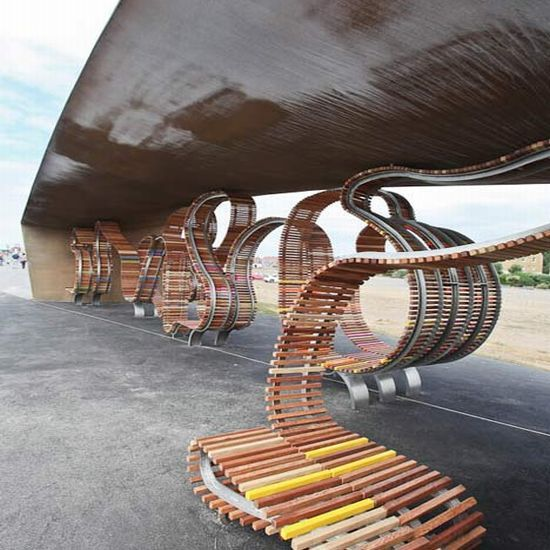 Studio Weaveu0027s Longest Bench In Littlehampton, UK Made From Reclaimed Wood