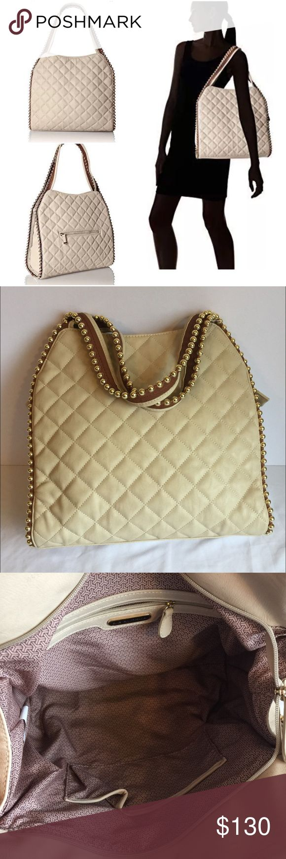 """New Big Buddha Georgie studded XL cream tote bag Polyvinyl Chloride  fabric lining  Zipper closure  Quilted ball tote  Color: cream 15"""" L x 13"""" H x 6"""" W  Condition: New with tags!  Comes from a smoke free home  Stock #: AMR10-204 Big Buddha Bags Shoulder Bags"""