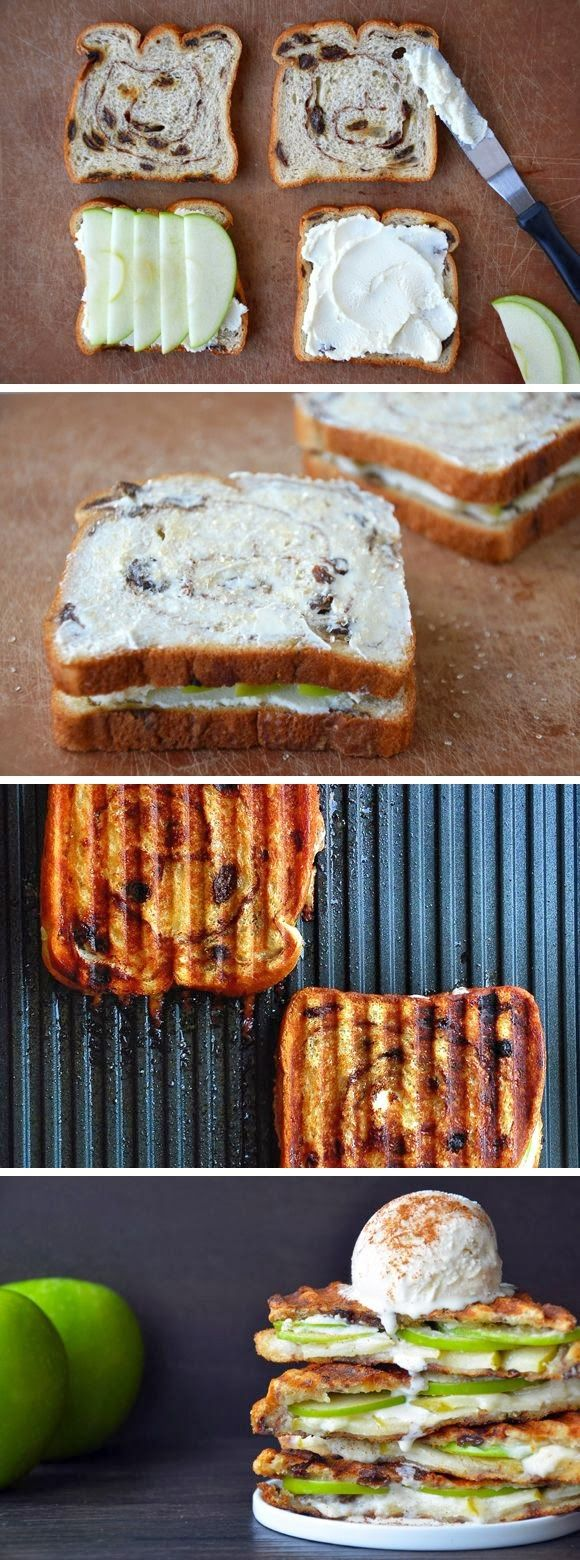 Something similar to this for breakfast... cinnamon raisin toast, ww cream cheese, apples and toast the bread