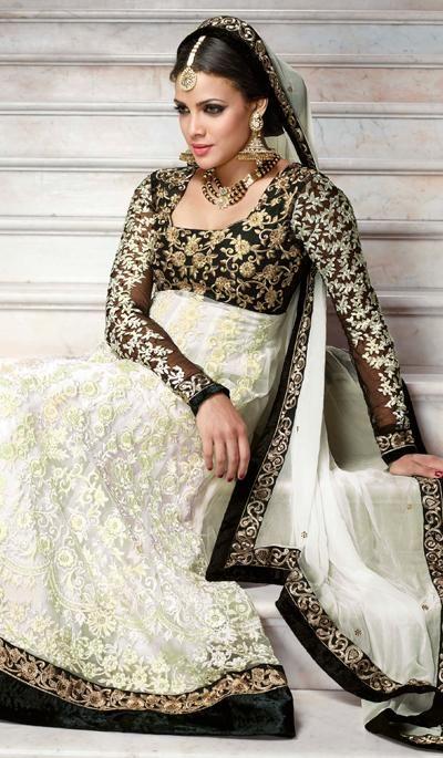 G3 Fashions Off White Net Wedding Wear Designer Salwar Suit  Product Code : G3-LSA105066 Price : INR RS 6182