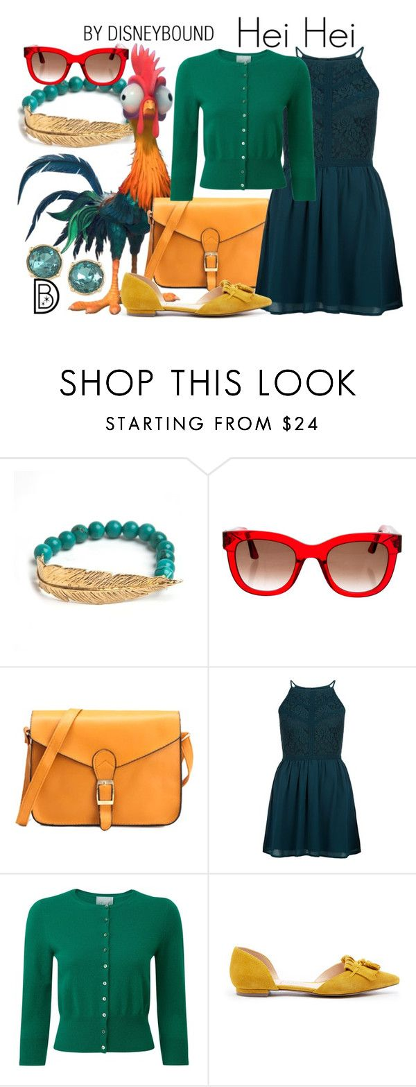 """Hei Hei"" by leslieakay ❤ liked on Polyvore featuring LeiVanKash, Thierry Lasry, New Look, Pure Collection, Sole Society, Carolee, disney, disneybound, disneycharacter and moana"