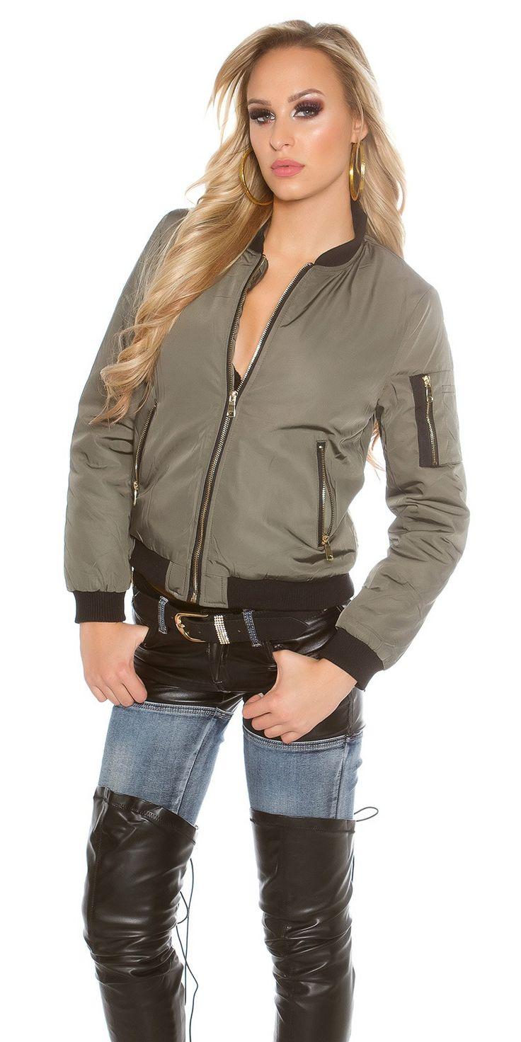 Trendy Bomber Jacket Khaki