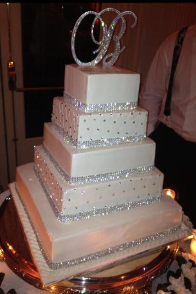blingy cake with crystal monogram cake topper!