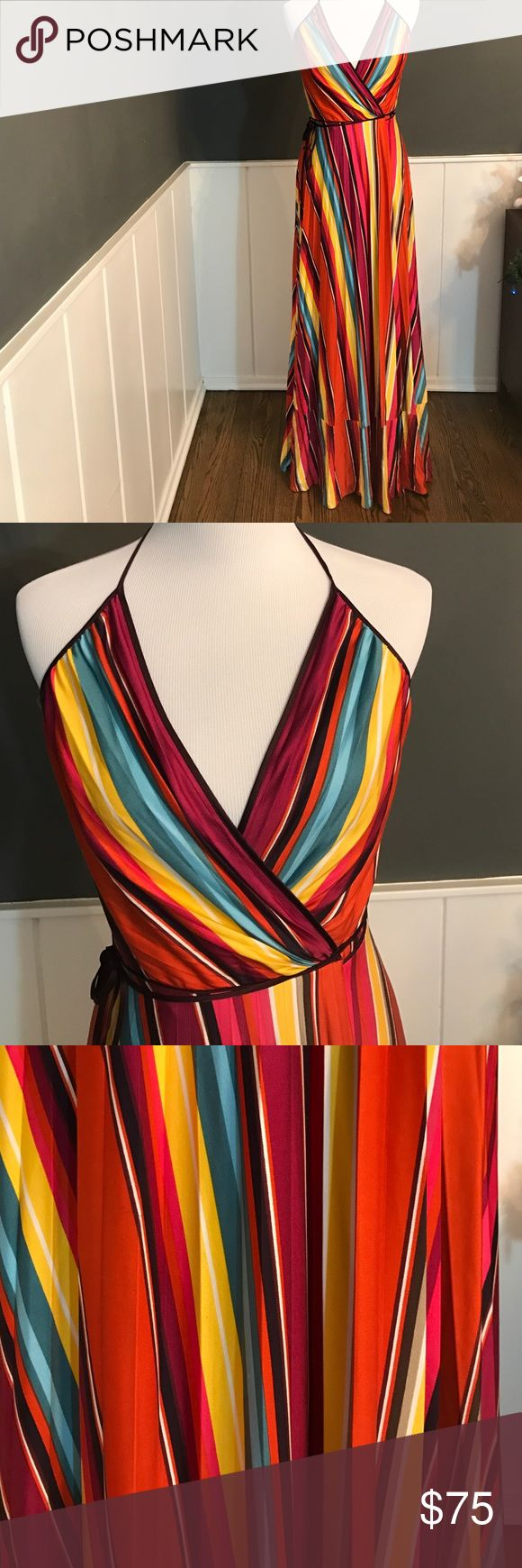 LAUNDRY dress Multi color wrap dress. Soft pleats in the fabric that add texture. Neck is adjustable tie and wrap as well. 100% silk. Never worn. Laundry by Shelli Segal Dresses Maxi