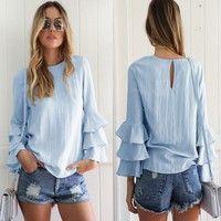 Wish   Tops Loose Ladies Casual Blouse Shirt Fashion Women Folding Sleeves T-Shirt