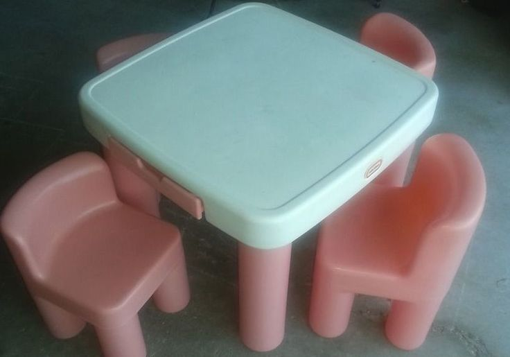 Rare Little Tikes Pink And White Table W 2 Chairs Childhood
