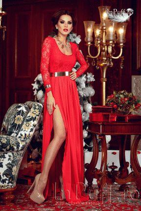 Rochie de seara Atmosphere lunga din dantela rosie.