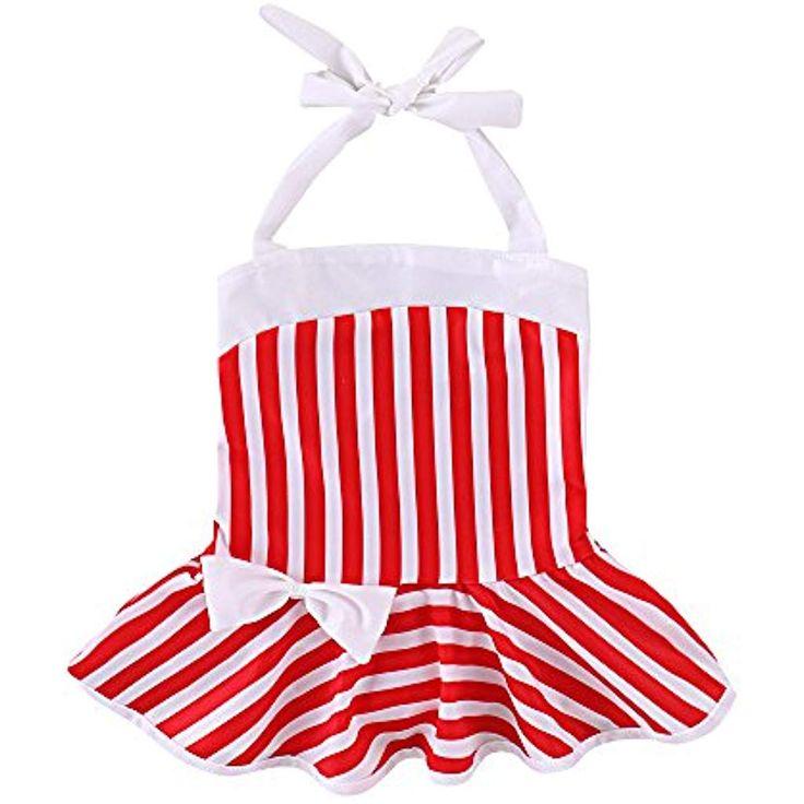 Brightup Ragazze del Bambino Un Pezzo Costume da Bagno Rosso e Bianco Strisce Co…