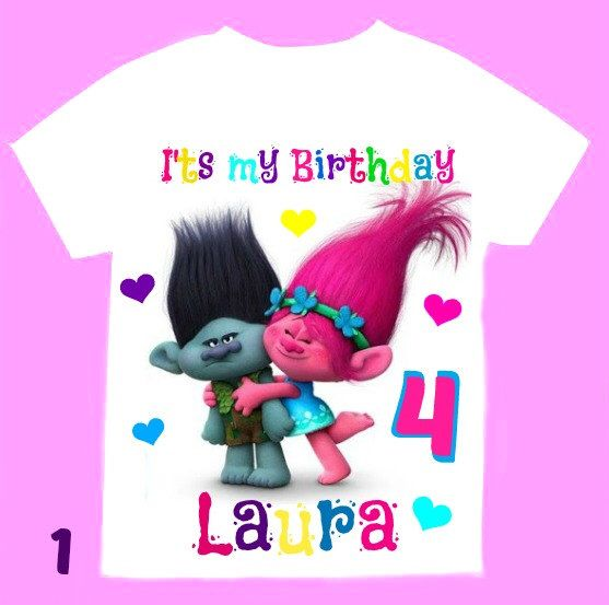 Trolls Birthday Girl Shirt, Personalized with child name and age. by FantasyKidsParty on Etsy https://www.etsy.com/listing/473376732/trolls-birthday-girl-shirt-personalized