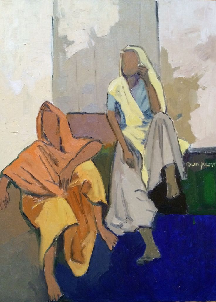 "The conversation, oil on canvas, 20x24"" by Arun Prem @ www.oilpaintingsofINDIA.com an online gallery of contemporary Indian art based in southern California"