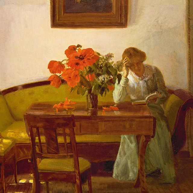 Weekends are for waffles … and a good book. Anna Ancher 'Interior with red poppies' 1905. Some of you who have visited us in Skagen will recognise the setting as the South Room in @anchershus #annaancher