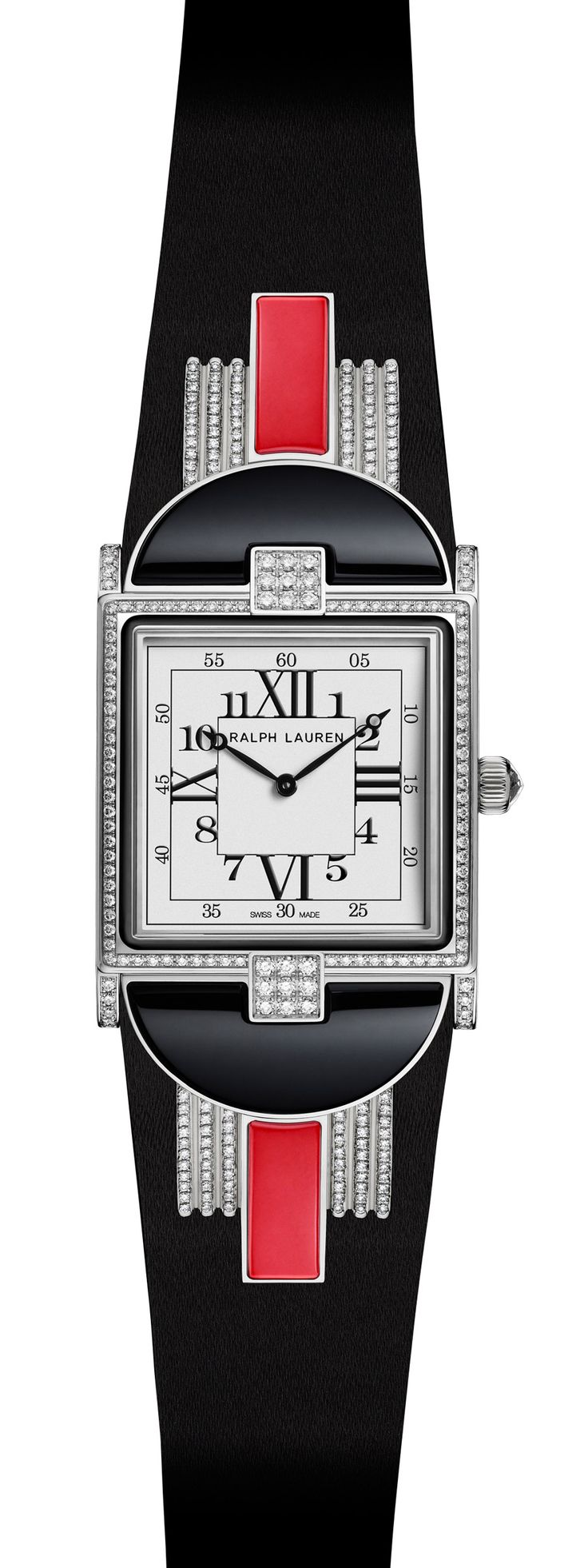 White gold Modern Art Deco watch with red coral-based stone with movement by Piaget for Ralph Lauren
