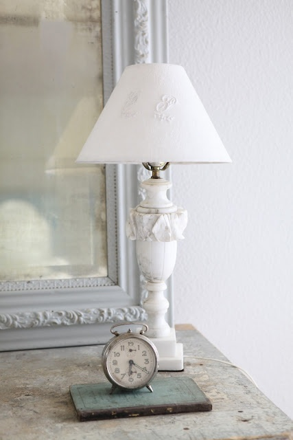 linen covered lampshade