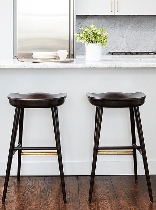 Brass Details On Two Barstools By Brownstone Provide A Pleasant Contrast To  The Kitchenu0027s Stainless