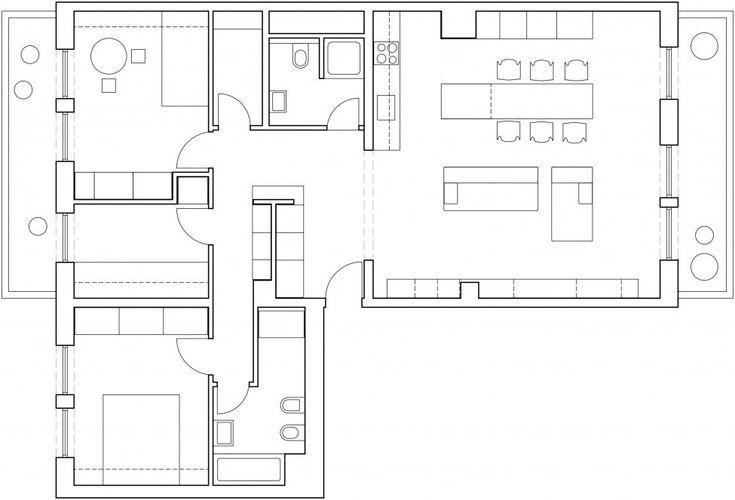 Проектное бюро Lidija Dragisic оформило интерьер резиденции Geometric в Любляне, Словения. Пространство площадью 100 кв. метров поделено на дневную и спальную зоны, первая из которых объединяет гостиную, кухню и столовую, а во второй спроектированы две спальни и кабинет. Между ними расположены дв...