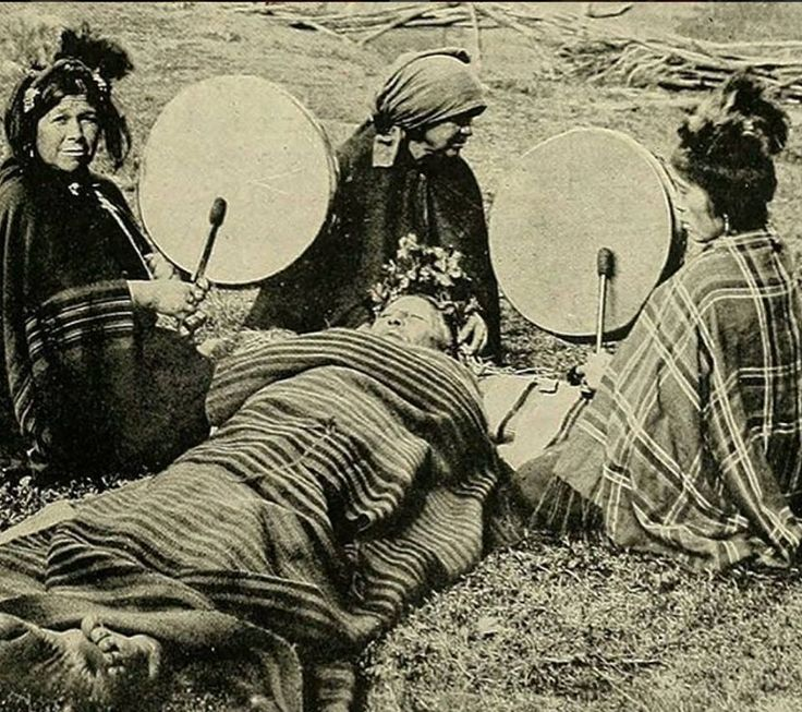 Mapuche shaman women treating a patient. Chile, 1908.