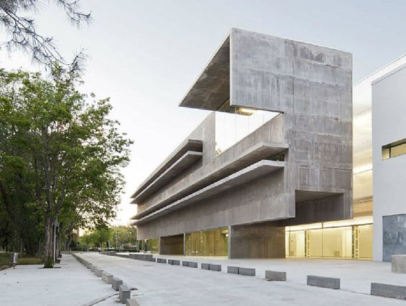 Genetics Laboratory and Office Building by Hctor Fernndez Elorza Large  concrete beams integrated into the faade. Contemporary  ArchitectureArchitecture ...