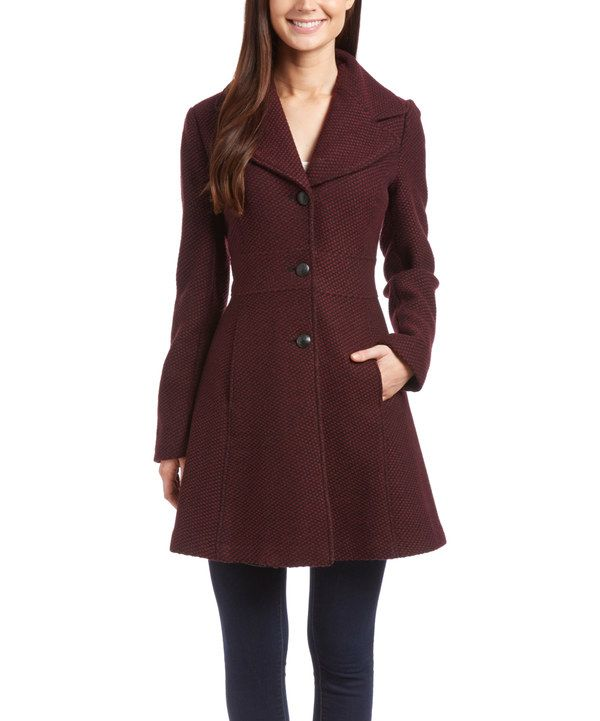Look at this Jessica Simpson Collection Boysenberry Wool-Blend A-Line Coat on #zulily today!