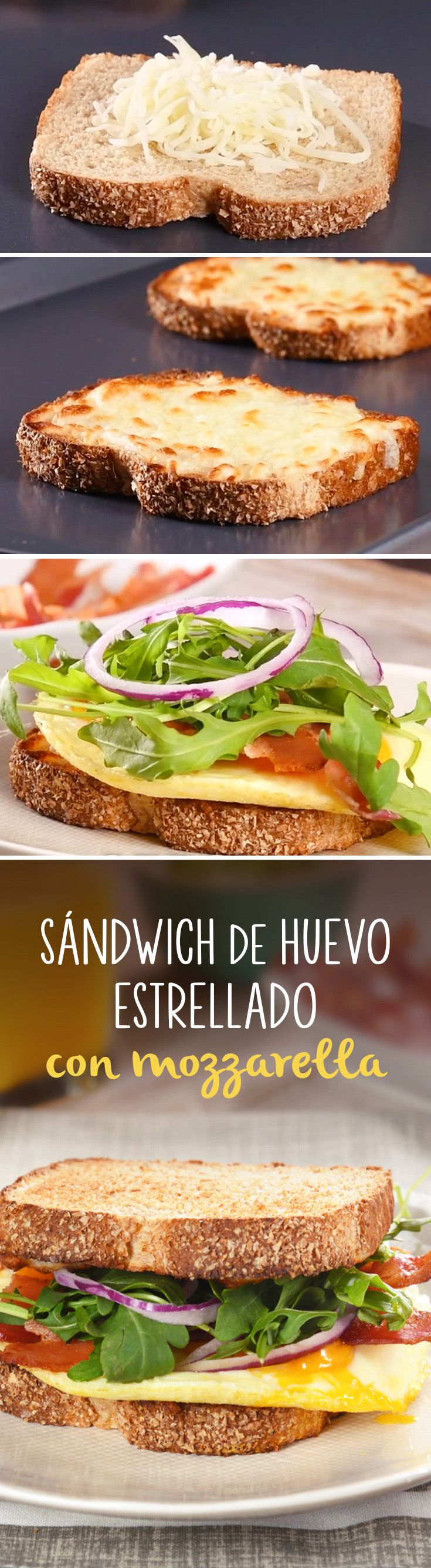 Sándwich para comer un desayuno completo y para llevar. Es el mejor sándwich con huevo y queso mozzarella que hayas probado.