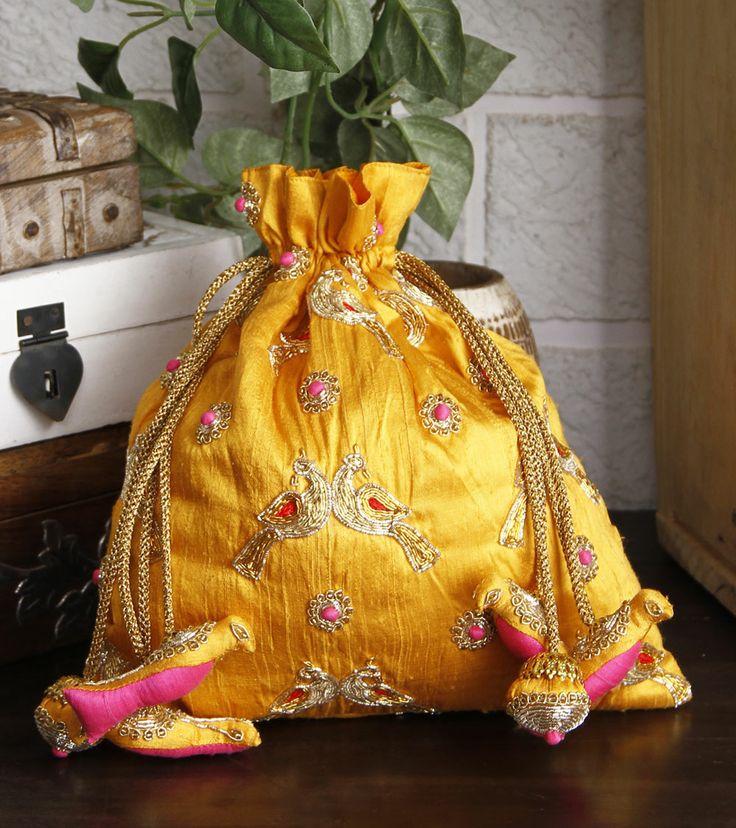 Yellow Embroidered Raw Silk Potli