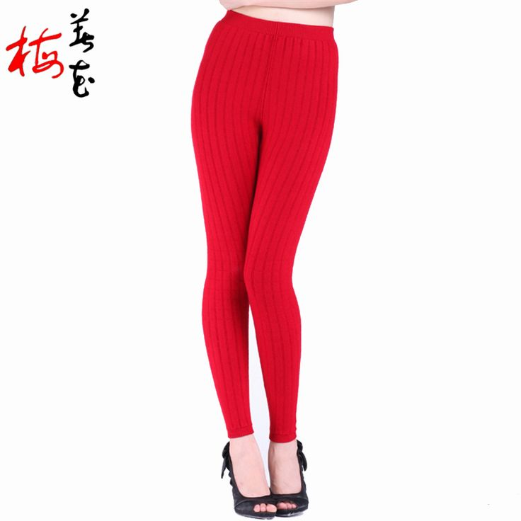 More Thick thermal underwear Cashmere Skinny leggings 2-layers warm underwear Wool Warm pants women clothing sous pull femme