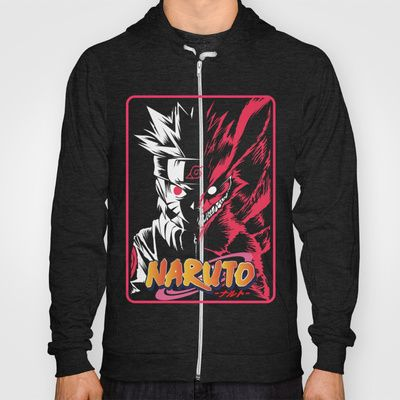 Half Face Naruto and Kyubi Hoody by Timeless-Id - $38.00