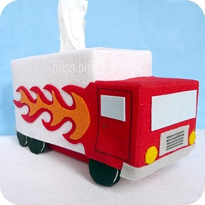 craft felt + scissors + glue = fun truck kleenex box holder