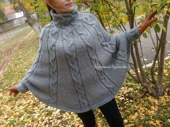 I'm offering a discount! #Limited #offer! Buy now to make it! #Hand #Knitted #Poncho #Wool #Women #Urban #Clothing #Cape #Sweater #Braided #Cabled #Poncho #Hot #Spring #Fall #Winter #Trend #Fashion #Gray #Melange #Sweater