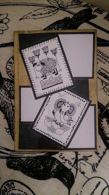 Doodle sheep and elephant.