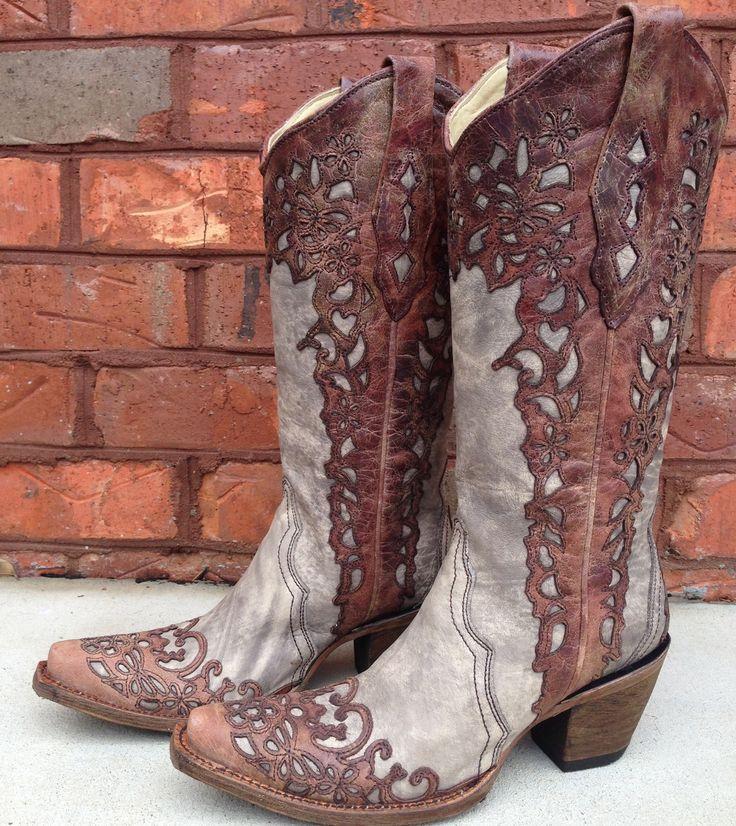 Rivertrail Mercantile - Corral Sand Cognac Laser Overlay Boots A2665, $249.99 (http://www.rivertrailmercantile.com/corral-sand-cognac-laser-overlay-boots-a2665/)