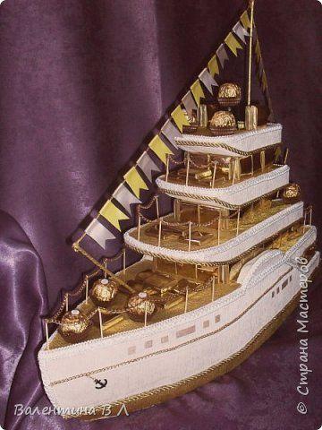 Свит-дизайн День рождения Моделирование конструирование Яхта Бумага гофрированная Клей Ленты Продукты пищевые фото 1