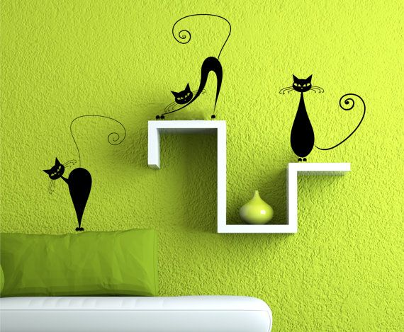 These Are So Cute!! Vinyl Wall Decal 3 Cute Cats Wall Decals By Zapoart Part 58