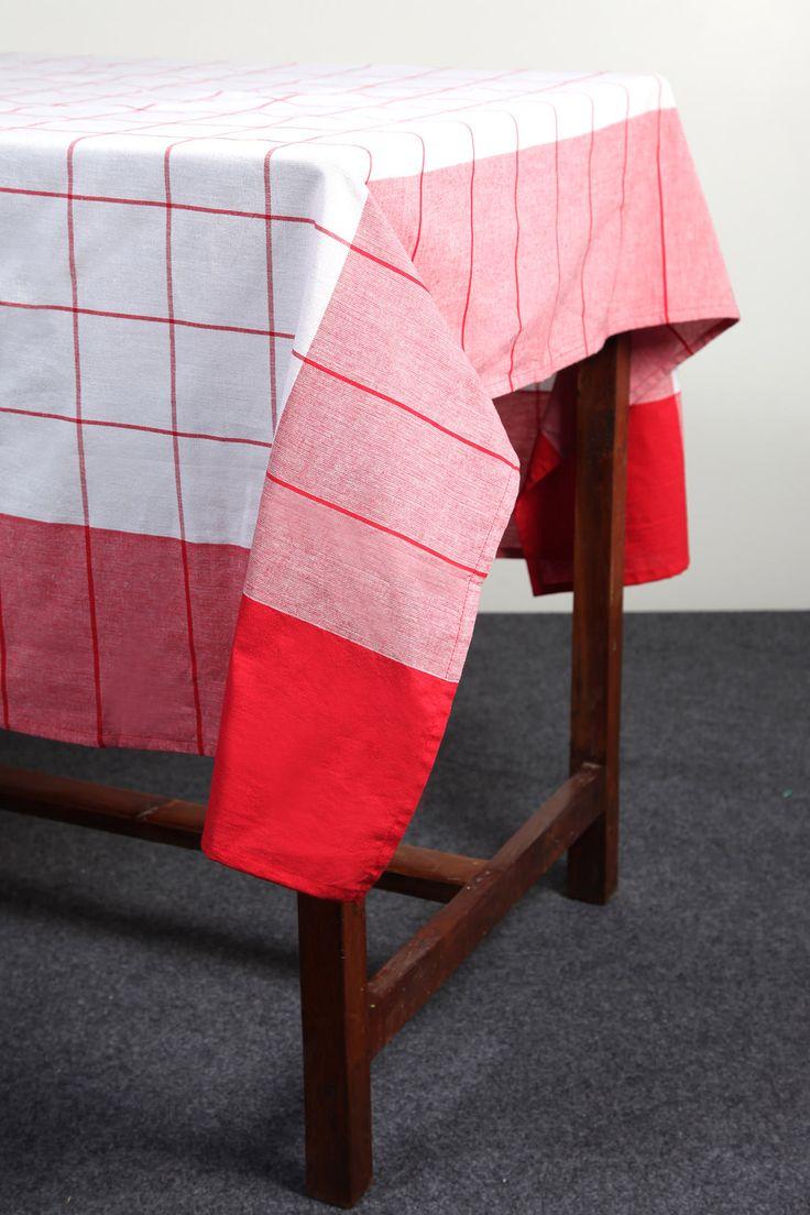 Panel border yarn-dyed checks tablecloth by Suraaj Linens