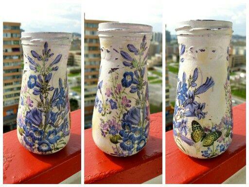 Decoupage vase from bottle