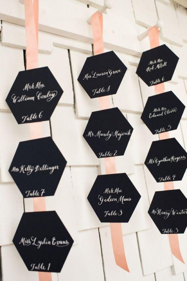 Place cards on ribbon Honeycomb Wedding