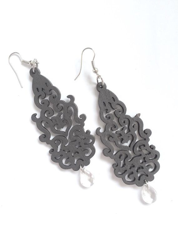 Lovely laser-cut wood earrings are lightweight but make a big impression. Available with silvertone or antiqued bronze findings. Please