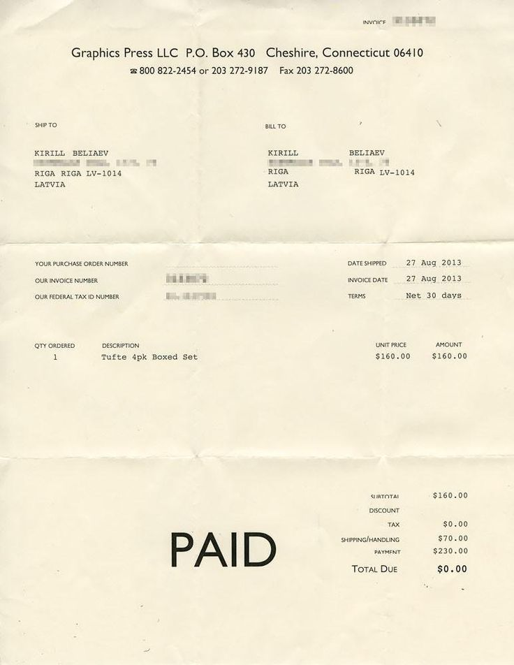 Invoice from Tufte store