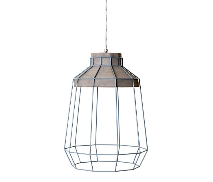 Suspension Indoor cm Ø34 x h 44 max 1x100W - E27 energy saving Structure in concrete, shade in metal grey