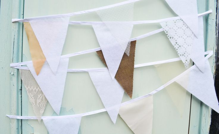 Lace bunting, white lace bunting, cream, peach and hessian bunting, spotty white bunting, white lace flags, lace wedding bunting by LucyAntwisWeddings on Etsy