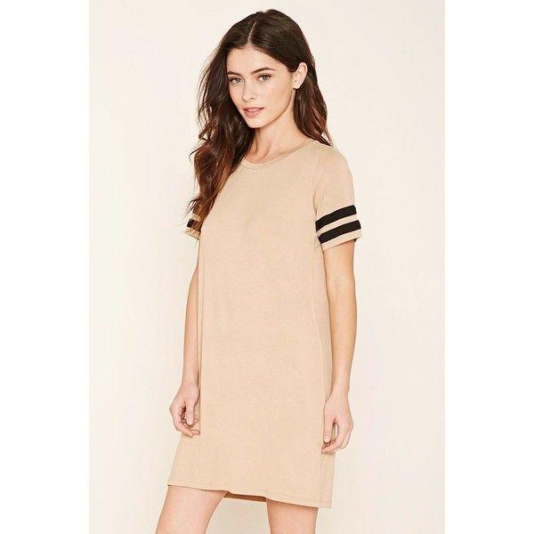 Forever 21 Women's  Striped T-Shirt Dress (205 MXN) ❤ liked on Polyvore featuring dresses, pink t shirt dress, pink dress, forever 21, forever 21 dresses and jersey t shirt dress