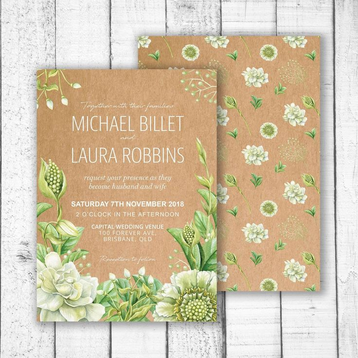 Green Foliage & Succulents Wedding Invitation - This invitation features hand painted watercolour flowers, foliage and succulents. Succulents are beautiful yet tough and reliable. The perfect symbol of everlasting love.   Customised to with your name and event information. Not just for weddings, this invitation can be customised for any event, birthday, engagement, bridal shower, graduation, staff party, new years eve, end of year party or any event.   A5 148 x 210mm A6 105 x 148mm