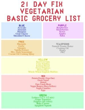 21 Day Fix Basic Vegetarian Grocery List  |   http://potentially-lovely.com