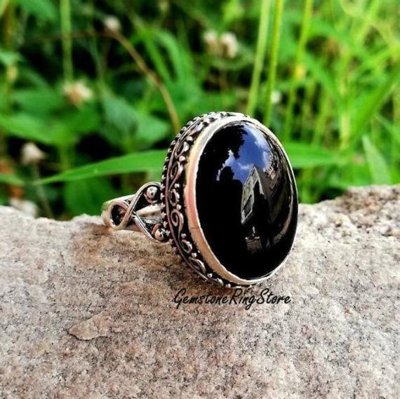 Sterling Silver 925 Ring  Black Onyx Ring  Black Gemstone Ring  Designed Jewelry  Gypsy Ring  Black Ring