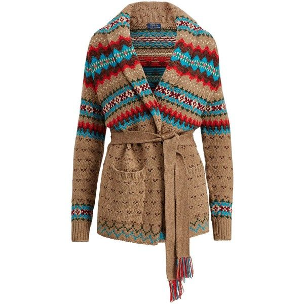 Polo Ralph Lauren Fair Isle Wool-Blend Cardigan ❤ liked on Polyvore featuring tops, cardigans, print cardigan, shawl collar cardigans, patterned cardigans, fair isle cardigan and brown cardi
