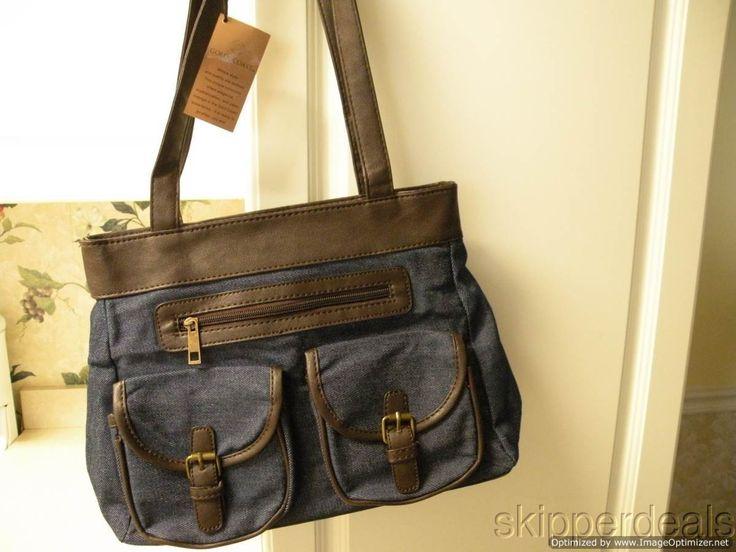 Blue Denim Bag Purse Brown Leather Shoulder Straps Gold Coast
